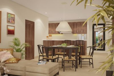 Artist's Perspective of Furnishings Package for Living/Dining Room