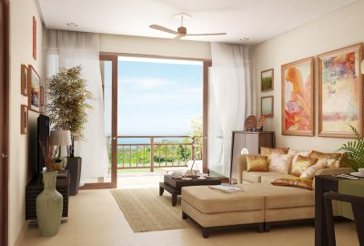 Artist's Perspective of Furnishings Package for Living Room and Veranda